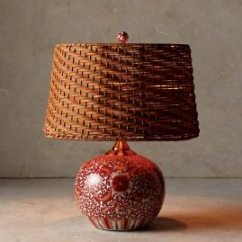 Coral Ming Low Pot Table Lamp with Wicker