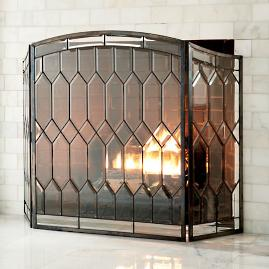 Cathedral Beveled Glass Fireplace Screen