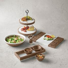 Carved Wooden and Marble Cheese Board