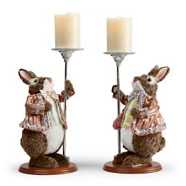 "16"" Easter Rabbit Candleholders, Set of Two"