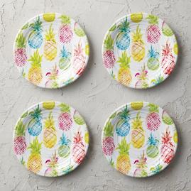 Pineapple Punch Melamine Salad Plates, Set of Four