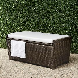 Tapered Wicker Storage Bench Cushion