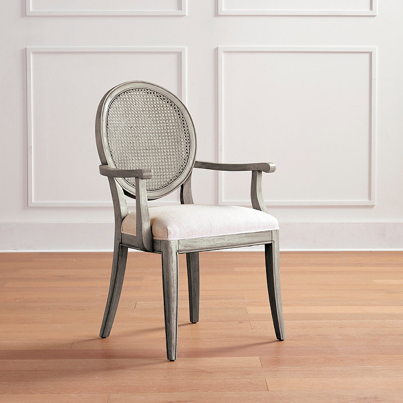 Georgia Cane Dining Arm Chair - Performance Ivory Linen/Gray Mist - Frontgate