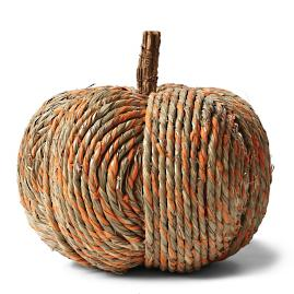 "11"" Striped Straw Pumpkin"