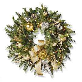 "Gold Rush Outdoor Cordless 30"" Wreath"