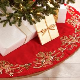 "Holiday Tidings Beaded Velvet 60"" Tree Skirt"