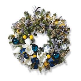 "Delft Blue Indoor Cordless 31"" Wreath"