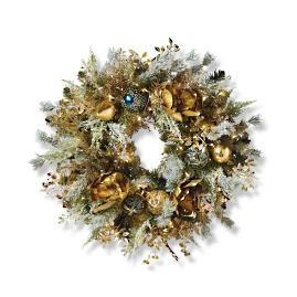 "Gold Rush Indoor Cordless 30"" Wreath"