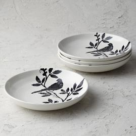 Italian Sparrow Handpainted Pasta Bowls, Set of Four