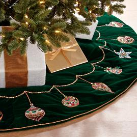 Mixed Ornaments Beaded Velvet Tree Skirt