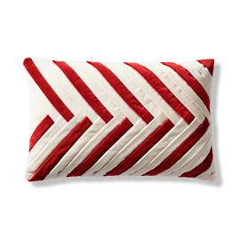 Candy Cane Velvet Lumbar Decorative Pillow Cover