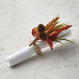 Millet Grass and Cove Fall Floral Napkin Rings,