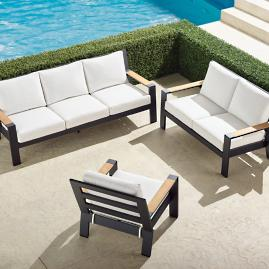 Calhoun 3-pc. Sofa Set in Matte Black Aluminum