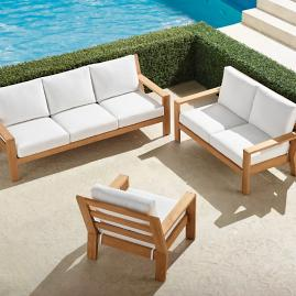 Calhoun 3-pc. Sofa Set in Natural Teak