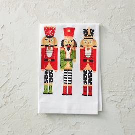 Handpainted Nutcracker Tea Towels, Set of Two