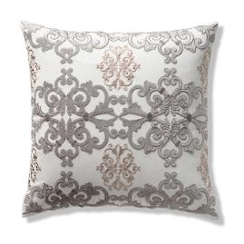 Aviana Embroidered Decorative Pillow Cover in Blush Gray