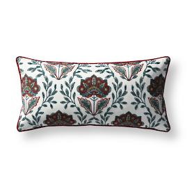 Indienne Embroidered Lumbar Indoor/Outdoor Pillow