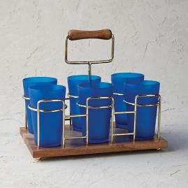 Drink Caddy with Frosted Glasses