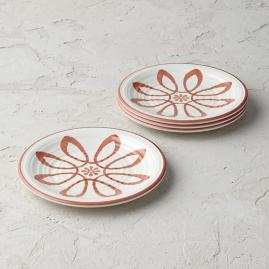 Desert Flower Melamine Salad Plates, Set of Four