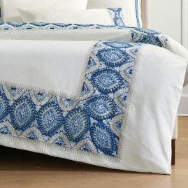 Ayla Embroidered Duvet Cover in Blue