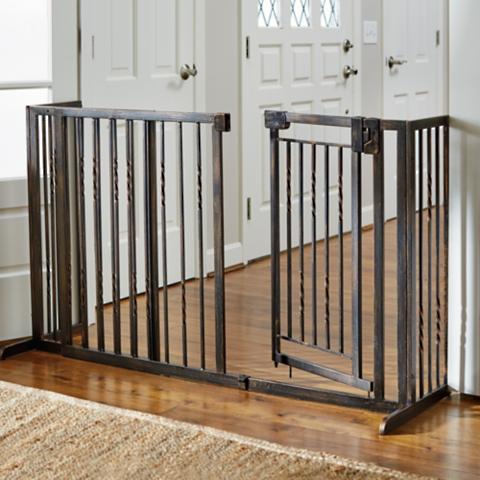 34 Quot H Freestanding Pet Barrier With Walk Through Door