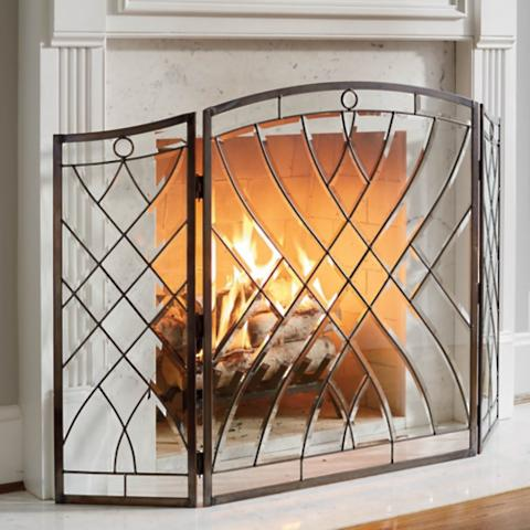 Victoria Beveled Glass Fireplace Screen Frontgate