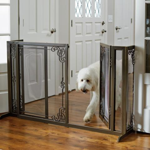 34 Quot H Expandable Freestanding Mesh Pet Gate Frontgate