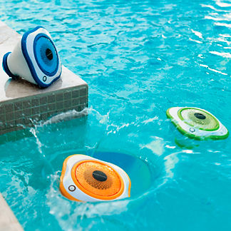 Set of Three Floating LED Pool Speakers