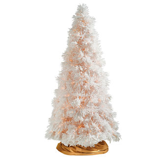 White Sugar Pine Artificial Christmas Tree with Traditional Stand