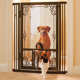 "42""H Tension-mount Dual Door Steel Mesh Pet Gate"