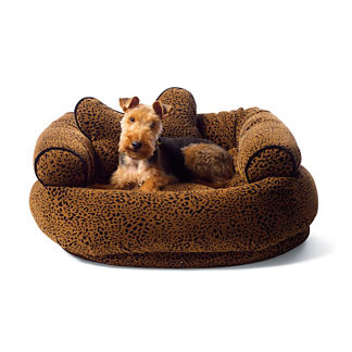 Flocked Animal Print Comfy Couch Pet Bed
