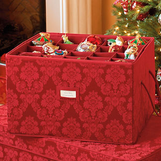 Red Damask Ornament Box