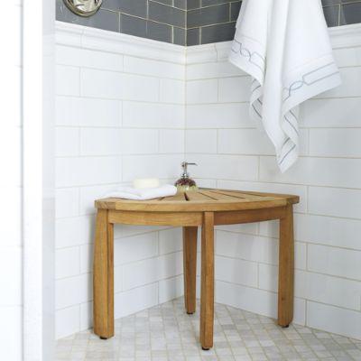Spa Teak Corner Shower Seat With Basket Frontgate