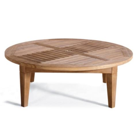 Hyde Park Solid Teak Chat Table In Ocean Grey Finish