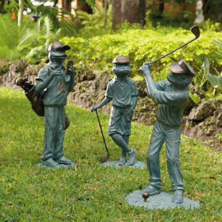Set of Three Golfing Garden Frogs