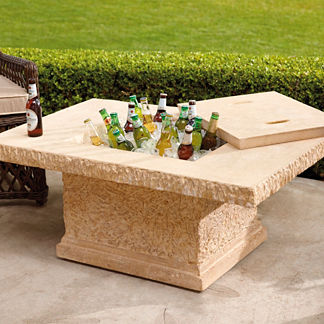 Faux-stone Outdoor Coffee Table and Beverage Tub