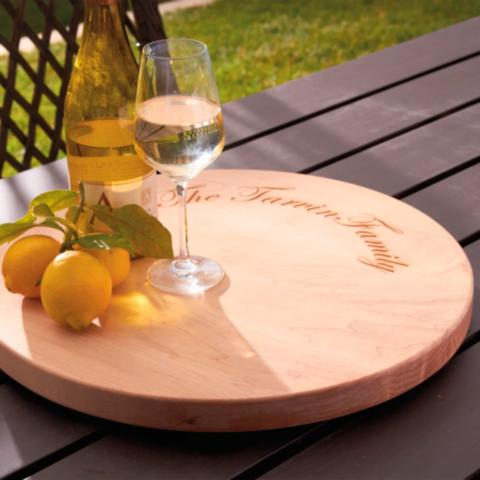 maple leaf lazy susan with family name
