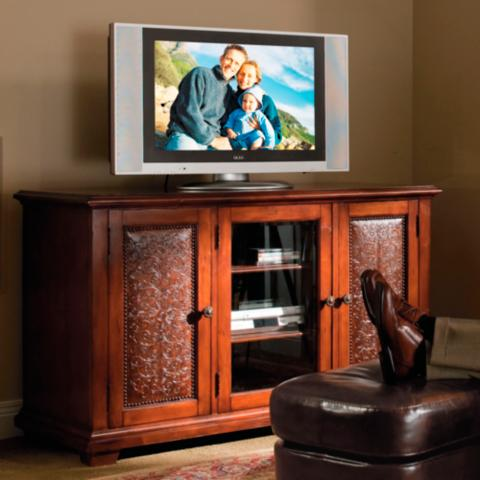 Media Cabinet With Leather Paneled Doors Frontgate