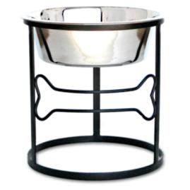 Circle Bone Elevated Single Pet Diner