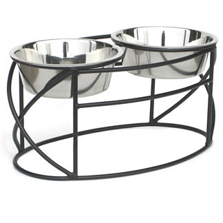 Oval Cross Elevated Double Pet Diner