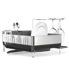 simplehuman® Steel Frame Dish Rack with Wine Glass