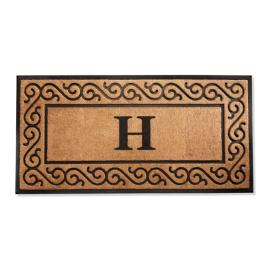 Hanna Scroll Border Monogrammed Door Mat