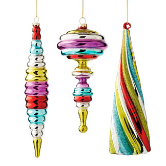 Set of 12 Candy Stripe Ornaments