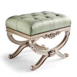 Lourdes Tufted Bench in Champagne Finish