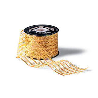 "2-1/2"" Gold Glitter Mesh Stripe Ribbon"