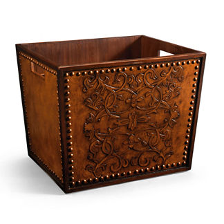 Canterbury Carved Leather Magazine Rack