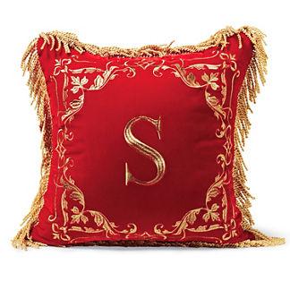 Red Silk Velvet Monogrammed Pillow