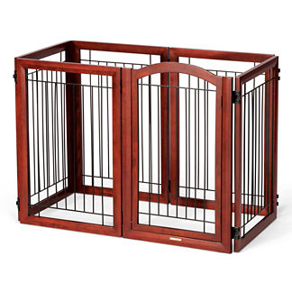 Six-panel Mahogany-finished Hardwood Pet Gate and Crate