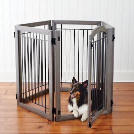 Six-panel Hardwood Pet Gate to Crate