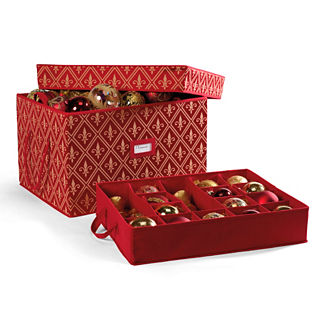 "Red Fleur De Lis Ornament Storage Box for 4"" Ornaments"